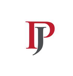 creative letter jp logo vector image vector image