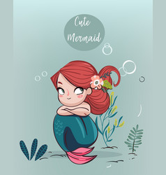 cute cartoon mermaid vector image vector image