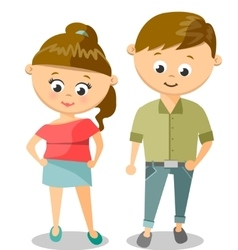 Cute Cartoon Of Young Woman And Man vector image vector image