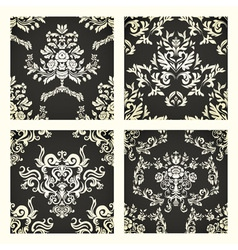 Damask seamless patterns vector image