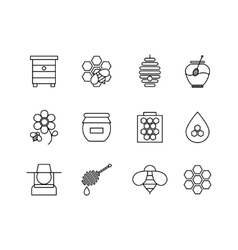 Honey thin line icons set vector image vector image