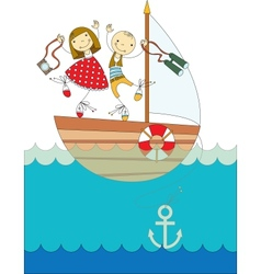 trip on a yacht vector image vector image