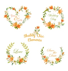 Vintage floral tags labels and banners vector