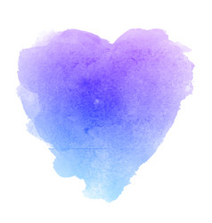 watercolor blue paper texture heart shaped stain vector image