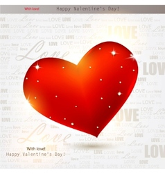 beautiful red heart with diamonds valentines day b vector image