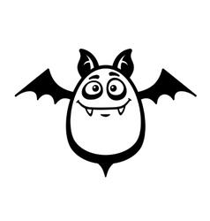 Cartoon Style Smiling Bat on White Background vector image
