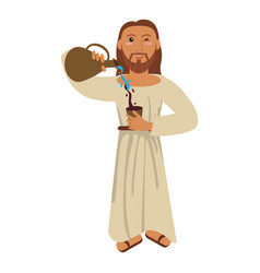 jesus christ miracle water wine concept vector image vector image