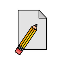 pencil school with paper isolated icon vector image