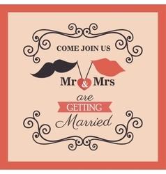 wedding card vintage lettering design vector image vector image
