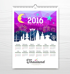 Calendar new year travel landmark with silhouette vector image vector image