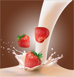 milk and strawberries vector image vector image