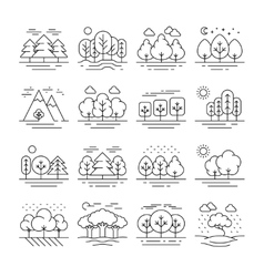 Nature forest landscape thin line icons vector image vector image