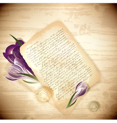 old letter with crocus flowers vector image vector image