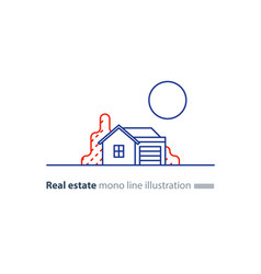real estate linear icon low house property vector image