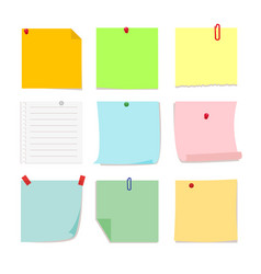 set of detachable stickers paper notes vector image