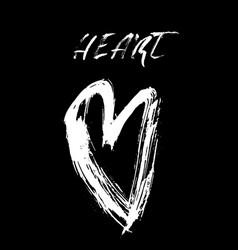 grunge hand drawn ink heart valentine day dry vector image