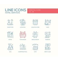 Hotel Services - flat design line icons set vector image