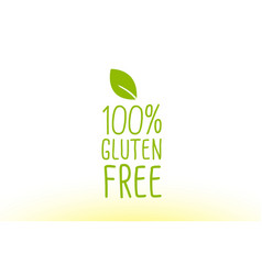 100 gluten free green leaf text concept logo icon vector