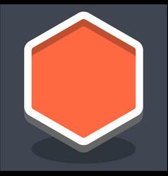 3d flat blank hexagon web internet button vector