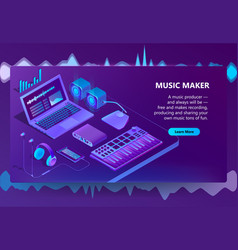 3d isometric site for music making vector