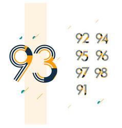 93 year retro anniversary set celebration vector