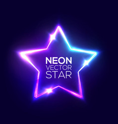 abstract neon star electric frame night club sign vector image vector image