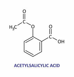 acetylsalicylic acid formula vector image