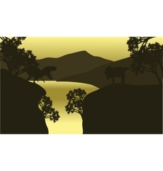 At morning scenery T-Rex silhouette vector image