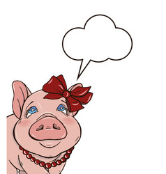 background with cheerful elegant pig vector image