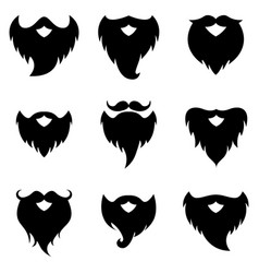 beard and moustache silhouettes vector image