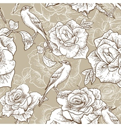 BeautifulSeamless Rose Background with Birds vector image