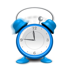 blue alarm clock close up isolated on white vector image