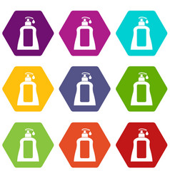 body care lotion icon set color hexahedron vector image