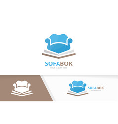 Book and sofa logo combination couch and vector