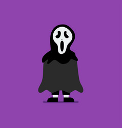 boy dressed in scary ghost costume vector image
