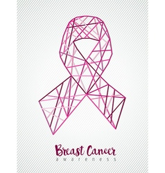 Breast cancer awareness pink ribbon line geometry vector image