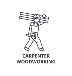 carpetner woodworking line icon sign vector image