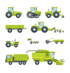 cartoon agricultural vehicles icon set different vector image