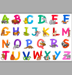 cartoon alphabet with animal characters vector image