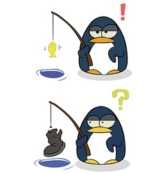 Cartoon little penguins with fishing rod vector image