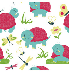 cartoon turtles with insects seamless pattern vector image