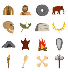 Caveman icons set flat vector