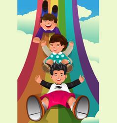 Children sliding down the rainbow vector