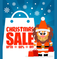 Christmas sale background with funny lion vector