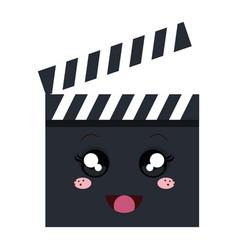 Clapperboard cinema kawaii character vector