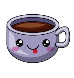 Coffee mug with kawaii face design vector