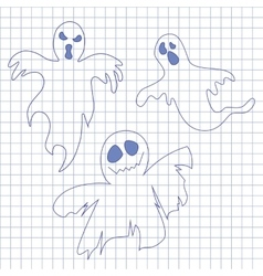 Collection of ghosts Icons for Helloween in vector image