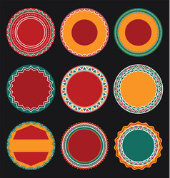 Collection of mexican round decorative border vector