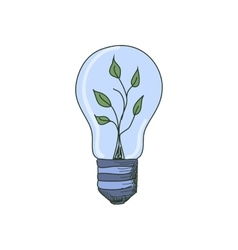Colored doodle Light Bulb with sprout inside vector image