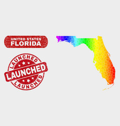 colored mosaic florida state map and distress vector image